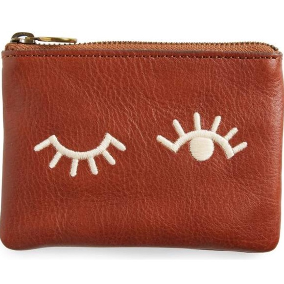 ae486c05c37 Madewell Handbags - Madewell Small Pouch Clutch: Embroidered Faces
